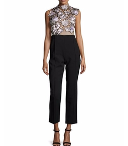 Self Portrait  - Lilac Floral-Lace Trouser-Combo Jumpsuit