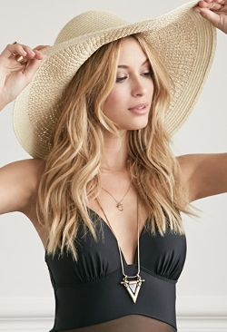 Forever 21 - Wide-Brim Straw Floppy Hat