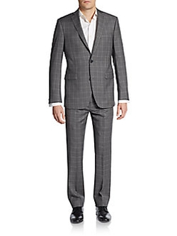 Saks Fifth Avenue RED  - Trim-Fit Windowpane Wool Suit