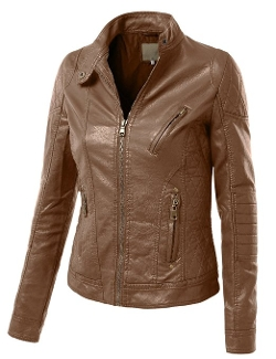 LE3NO - Faux Leather Quilted Zip Up Moto Biker Jacket