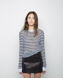 T by Alexander Wang - Striped Rayon Linen Longsleeve Shirt