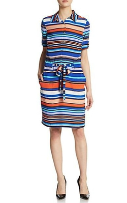 Marc New York by Andrew Marc - Striped Drawstring Shirtdress