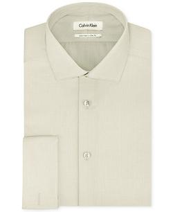 Calvin Klein  - Steel Non-Iron Slim-Fit Herringbone Solid French Cuff Shirt