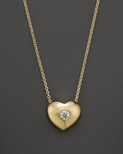KC Designs - Diamond Solitaire Heart Pendant Necklace