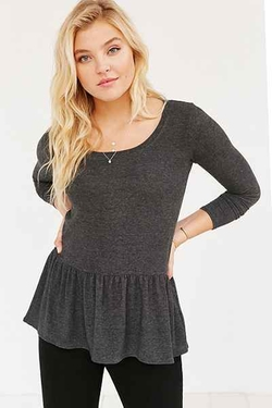 Urban Outfitters - Cooperative Cozy Ruffle Hem Shirt