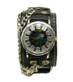 R.M. - Punk Rock Skull Skeleton Leather Band Unisex Chain Bracelet Cool Wrist Watch