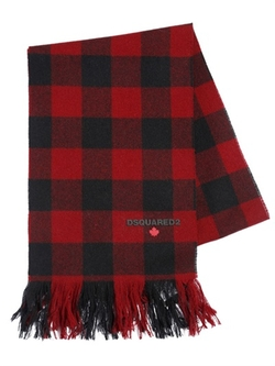 DSquared2 - Fringed Plaid Wool Flannel Scarf