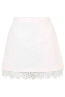 Topshop - Textured Lace Hem A-Line Skirt