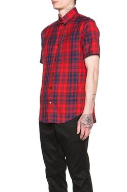 N.hoolywood - Short Sleeve Plaid Shirt