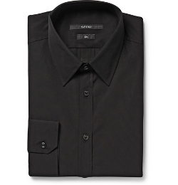 Gucci - Black Cotton-Poplin Shirt