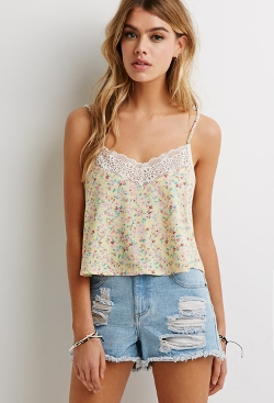 Forever 21 - Ditsy Floral Lace-Trimmed Camisole