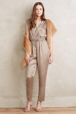 Anthropologie - Silk Surplice Jumpsuit