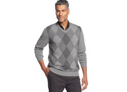 Greg Norman for Tasso Elba  - Argyle V-Neck Golf Sweater