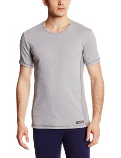 Calvin Klein - Dual Tone Wide Neck Short Sleeve Crew Tee Shirt
