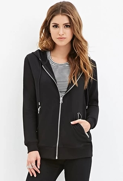 Forever 21 - Zipped Drawstring Hoodie