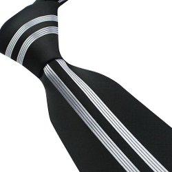 Fengbay - Black W Silver Vertical Stripe Jacquard Necktie