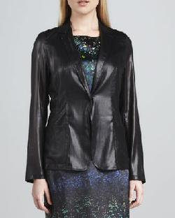 T Tahari  - Clara Snap-Front Faux-Leather Jacket