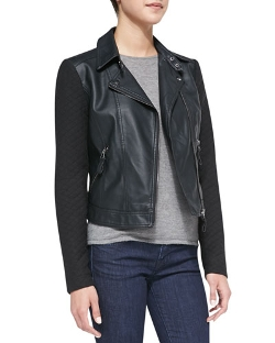 Cusp by Neiman Marcus  - Quilted Detail Faux-Leather Jacket