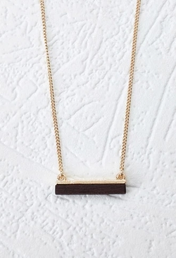 Forever 21 - Wooden Bar Pendant Necklace
