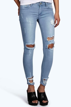 Boohoo Blue - Distressed Ankle Skinny Jeans