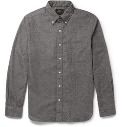Beams Plus   - Slim-Fit Button-Down Collar Cotton-Flannel Shirt