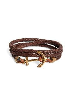 Brooks Brothers - Kiel James Patrick Brown Leather Rope Bracelet