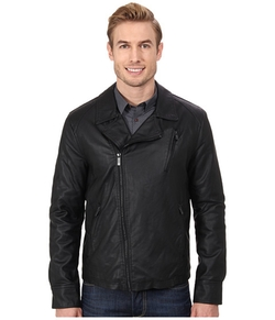 Kenneth Cole Reaction  - Asymmetrical Zip Front Faux Leather Hipster Jacket