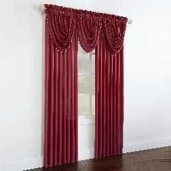 Brylane Home  - Crushed Taffeta Beaded Waterfall Valance & Rod Pocket Panel