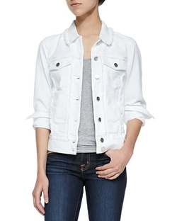 7 For All Mankind	  - Raw-Edged Jacket W/ Pearlized Buttons