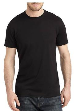 Saks Fifth Avenue Black  - Classic Ice Cotton Crewneck T-shirt