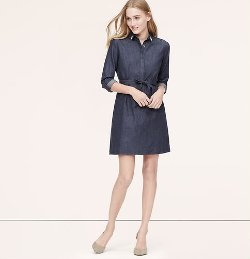 Loft - Jeweled Chambray Shirtdress