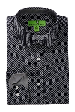 Bristol & Bull - Long Sleeve Diamond Print Dress Shirt