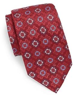 XMI Platinum - Medallion-Print Silk & Linen Tie