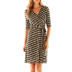 Studio 1 - 3/4-Sleeve Faux-Wrap Houndstooth Dress