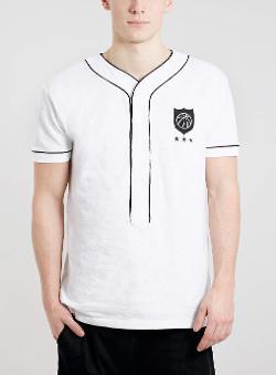 TOPMAN - WHITE HALF PLACKET BASEBALL T-SHIRT