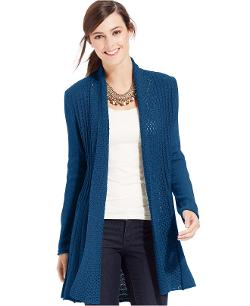 NY Collection  - Long-Sleeve Pointelle Cardigan