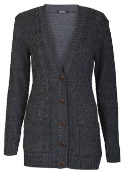 Forever - Cable Knitted Grandad Button Cardigan