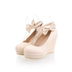QueenFashion - Wedge Mary Jane Pump Shoes