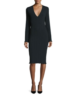 Calvin Klein Collection - Long-Sleeve Ribbed Sheath Dress