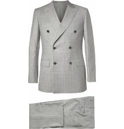 Brioni   - Grey Prince Of Wales Check Wool Suit