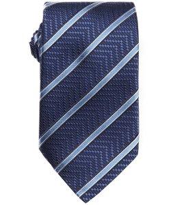 Ermenegildo Zegna  - Blue Silk Diagonally Striped Chevron Print Tie