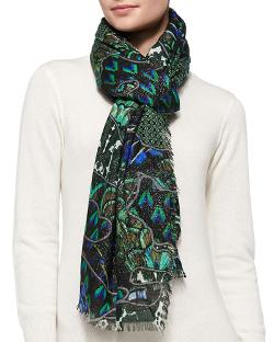 Roberto Cavalli	  - Shimmery Printed Cashmere-Blend Wrap