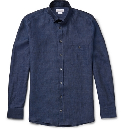 Richard James   - Button-Down Collar Linen Shirt