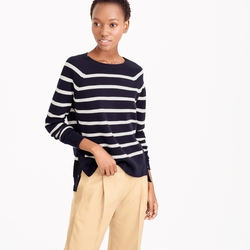J.Crew - Striped Crewneck Sweater With Side Snaps