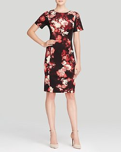 Adrianna Papell 	  - Short Sleeve Floral Print Dress