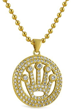 H.H.B - The Mini King Crown Circle Gold Pendant