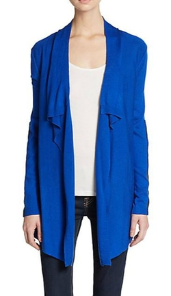 Karen Kane  - Draped Faux Leather-Detailed Cardigan