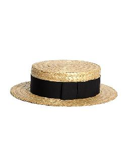 Brooks Brothers - Lock & Co. Straw Boater Hat with Black Ribbon