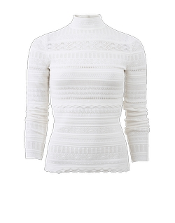 Alexander Mcqueen  - Lace Knit Turtleneck Top