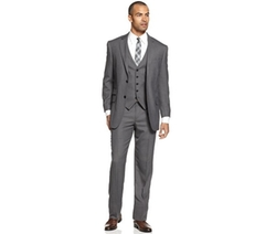 Perry Ellis - Comfort Stretch Grey Sharkskin Vested